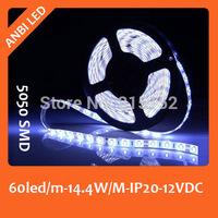 Free shipping SMD LED flexible strip 5050,60led/m,10m/reel,non-waterproof,IP20,warm white