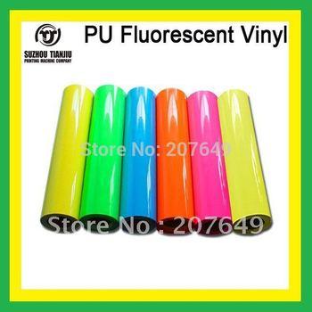 TJ High-quality t shirts PU Fluorescent Vinyl,heat transfer vinyl,pu vinyl(width=0.5meter) 1 meter