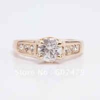 1Pcs/lOT,Hot Sale! Free Shipping: 18K Whited Gold Plated 1.5Ct Crystal Wedding Ring