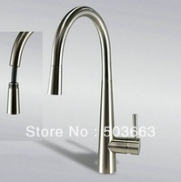 """16"""" Pull Out Spout Kitchen Sink Faucet Brushed Nickel Mixer Tap Faucet K-0532"""