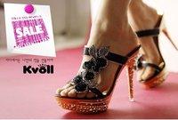 2012 Kvoll New Design High Heels Slippers Fashion Ladies Slides Thin Heels Sandals Ladies Sexy Rhinestone  Sandals T2162