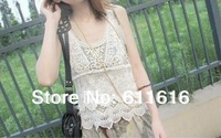 New Women Embroidery Lace Tank Top Vest Ladies Sexy Floral Lace Blouse Shirt Plus Size Basic Sleeveless Tank Crochet Tops C-001