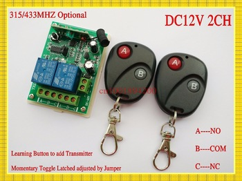 Free Shipping DC12V Wireless Receiver&Transmitter  Remote Control switch System Momentary/Toggle/Latched adusted  10A 315/433