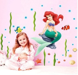 Free Shipping,Cartoon Mermaid Cool Removable Decal Wall Sticker Home Decor Art(China (Mainland))