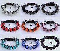 FREE Shipping FEDEX DHL 100pcs/lot Wholesale Handmade Bracelet Crystal 10MM Beaded  Clay  Shamballa Ball(9pcs) Bracelets