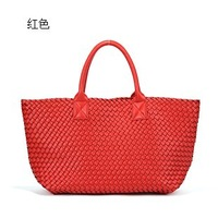 High Quality Faux Leather PU Women Cabas Tote Bag 2013 Weave Handbag Woven Purse