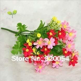 silk simulation artificial flower lovely chrysanthemum daisy bush bouquet 35cm wedding & home decor, freeshipping, L