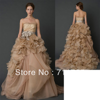 Free Shipping Real Sample Nude Wedding Dress 2014 Princess Beautiful A Line Pin Up Champagne Wedding Gowns New Fashion 2014