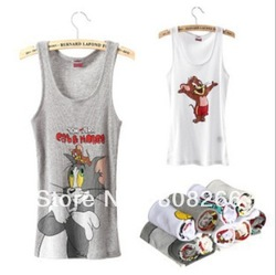 free shipping new fashion 100% cotton women tank tops cute cat&amp;mouse MICKY women vest(China (Mainland))
