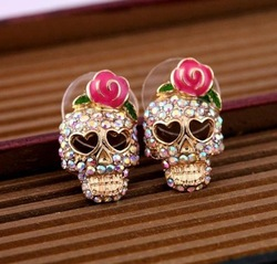 New Arrivals 12pairs Free Shipping skull rose flower  Stud Earrings Gold Wholesales Fashion Earrings