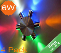 LED Wall lighting+White/Warm white/Green/Red/Blue/Multi color for option+6W+85-264V+4pcs/lot +Free shipping