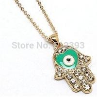 Free Shipping New Style Hand Of Fatima Hamsa Turkish Evil Eye necklace Jewelry Palm pendant XL601