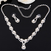 Free Shipping 6 Sets Silver Plated Crystal Diamante Pearl Shell Bridal Wedding Necklace Chain Earrings Jewelry Set