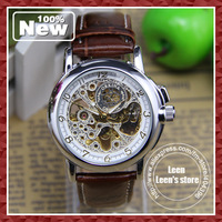 DHL EMS UPS Free Shipping New Fashion Mechanical Luxury Style Genuine leather Strap Mens Boys Wrist Watch Antique Style