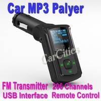Car Wireless FM transmitter,car mp3 player,FM car kit with remote control USB interface,206 Channels,good quality,drop shipping