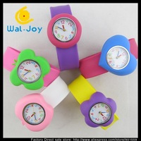 100pcs/lot Removable slap silicone colorful quartz fashion watch,mix five designs(SW-367)