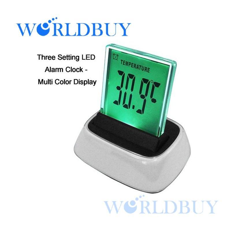 High Quality Three Setting LED Alarm Clock - Multi Color Display Free Shipping UPS DHL HKPAM CPAM(China (Mainland))