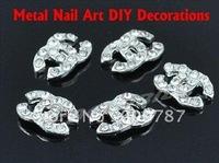Freeshipping- 3D Rhinestone metal Nail Art Decoration nail art charm 100pcs/bag wholesales