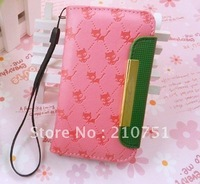 NEW Pink Book Case Wallet Cover PU Leather Bumper for Apple iPhone 4 4S