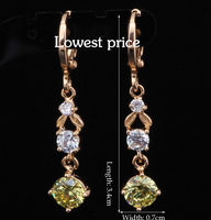 Best gifts Wholesale Designers! 18k gold plated Crystal fashion Jewelry Peridot Topaz Drop Earrings JE400