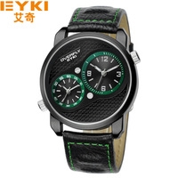 1pc Eyki Dual time watch Men, 30M Hign quality Japan Quartz luxury Men brand watch ,4colors with Gift box