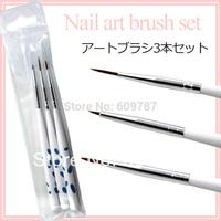 Free shipping 3pcs/set nail brush set/Nail art Painting & drawing brush kits
