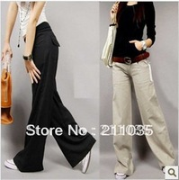 Free Shipping high quality Linen wide leg pants fluid straight type women's casual trousers High Quality linen pants,R93