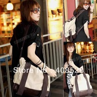 2012 New Korean Lady Girl Canvas Leather Hobo handbag backpack satchel shoulder bag free shipping 4175