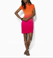 Free shipping/Fashion/Hot saling /100% cotton/Women's Casual dress /short sleeve tennis dress double color item,orange