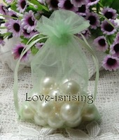 "FREE SHIPPING-50pcs 4"" x 6"" 10x15cm Light Green Sheer Organza Pouch Wedding Favour Party Jewelry Gift/Candy Bag"
