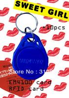 Free Shipping !! EM Smart Keyfob Card RFID Proximity ID Token Tag Key Ring 125Khz blue 50pcs/