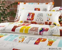 100% Cotton Fashion Comfortable Home Textile Active Printing Bedding Set /4pcs Color Letters And White Backgroun