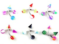 Lowest Price Body Jewelry 18G Spike UV Eyebrow Piercing Tragus Bars Rings 10pcs/lot [BA17*10]