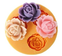 3D Wholesale 3pcs Silicone Soap Molds flower plunger  Candle Candy Jelly Cake Craft mould