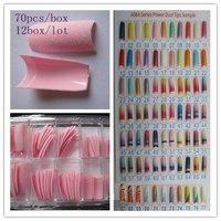 Free shipping--Wholesales 70PCS/BOX Fashion pink Glitter False Nail Tips fake Nail Pre Design Acrylic Nail Art Manicure #05
