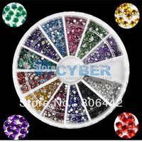 1.5MM 2000pcs 12 Colors Nail Art rhinestone Decoration For UV Gel Acrylic Systems Free Shipping