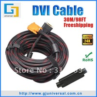 Free Shipping 30M 65FT DVI Extender Cable with Chipset, DVI-D 24+1 Cable Male to Male, For HDTV PC Monitor, DVI017-30
