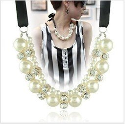 NEW Costume jewellery imitation pearl necklace charm ribbon necklace 100% Excellent Quality HA12088