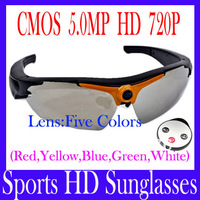 Free shipping Sports HD Sunglasses---CMOS 5.0MP HD720P Wide- Angel Action Sport Camera Camcorder with remote controller MOQ=1PCS