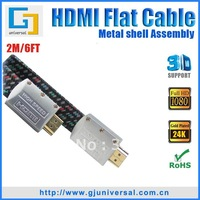 Free Shipping 2M 6FT HDMI Metal Shell Flat Cable(5PCS/Lot),1.4V Metal Shell Assembly M to M,3D Ethernet 1080P 4K*2K,GJ-HDMI024-2
