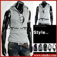 New Summer Men's Sleeveless Hoody Vest Fashion Cotton Tops tees Mens Slim Vests Six buttons T-shirt 5colors Asia S M L XL C026