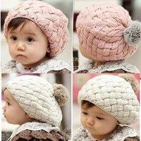 Wholesale Free Shipping Hot Sell 1 Piece 2012 New Autumn Winter Baby Hat Bonnet Style Kid Crochet Cap Lovely Infant's Headwear