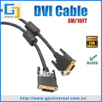 Free Shipping 3M 10FT DVI 24+1 Cable(5PCS/Lot), DVI to DVI Cable, For HDTV PC Monitor, DVI013-3
