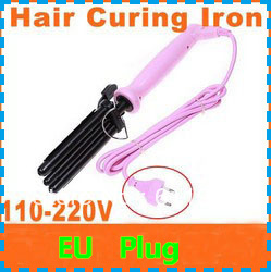 Pink Hair Curling Iron Three Barrel 110-220V (EU Plug), Free Shipping, Dropshipping(China (Mainland))