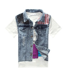 fashion trun-down collar blue jean vest for men denim jackest vest, free shipping, Q231(China (Mainland))