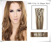"16"" 18"" 20"" 22"" 26""Full Head Remy Clip in Human Hair Extension 8pcs 100g #8/613 Light Brown blonce mixed"