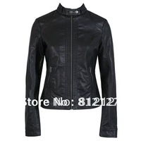 New Women's Jacket PU Leather High Quality Black Motorcycle Coat XS S M L XL XXL XXXL
