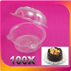 Free Shipping 100PCS/LOT Plastic Single Individual Cupcake Muffin Dome Holders Cases Boxes Cups Pods Alibaba Express(China (Mainland))
