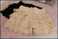 Korean sweet style lace shorts cascading ruffled lace short pant vintage beige black color lace shorts free shipping SH-295