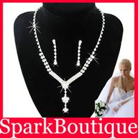 (40% off on wholesale) Crystal Rhinestone Bride Necklace Earrings Set Bridal Jewellery Set Free Shipping